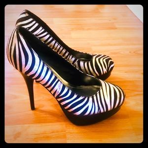 Black and Silver Zebra Print Heels by Bamboo